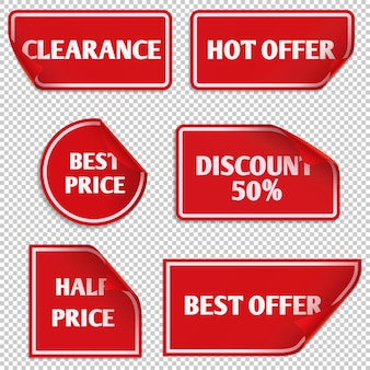 Vector red paper sale stickers with curled edge