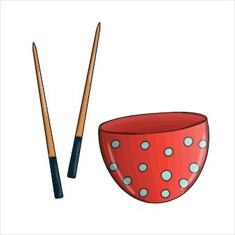 벡터 빨간색 물방울 무늬 믹싱 그릇과 젓가락. 주방 도구 아이콘 흰색 배경에 고립입니다. 만화 스타일의 요리 장비. 그릇 벡터 일러스트 레이 션