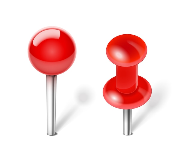 Vector red push pin for note paper