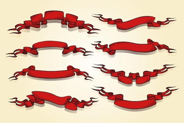 Вектор красный ретро ленты в винтажном стиле