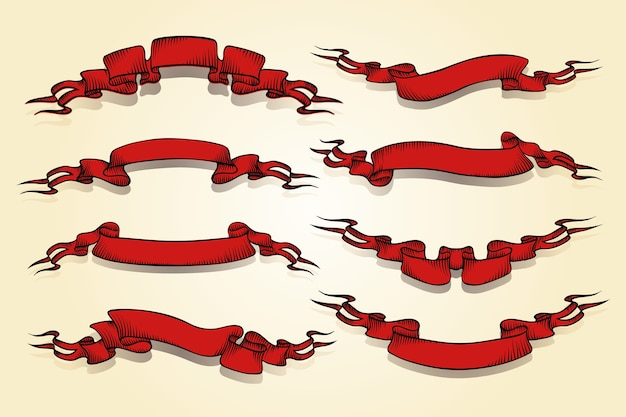 Vector red retro ribbon set in vintage style