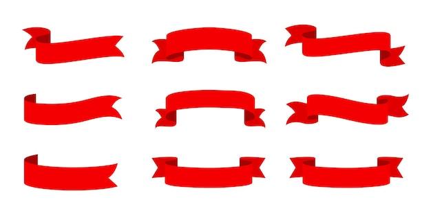 벡터 빨간 리본 배너 세트입니다. 판촉을 위한 평평한 빨간 리본, 제품 판매의 할인 라벨.