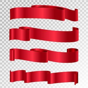 Vector red ribbons.ribbon banner set.