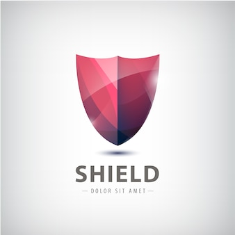 Vector red shiny shield icon illustration