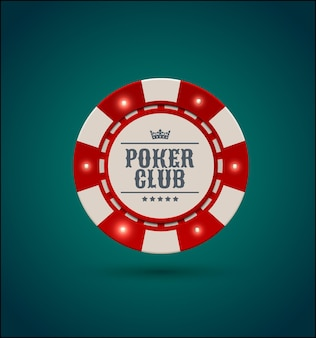 Vector red white casino poker chip with luminous light elements. blue green background. poker club text, blackjack or online casino banner, eps 10.