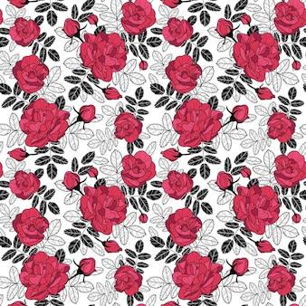 赤いバラのつぼみとバラの黒い葉を持つベクトル繰り返しパターン