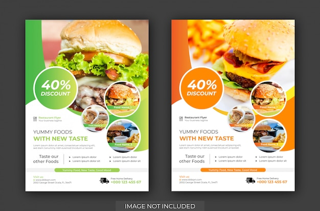 Флаер для бургера и шаблон плаката vector.restaurant, флаер-шаблон