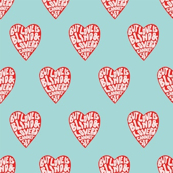 Vector retro color calligraphy with heart pop art illustration seamless repeat pattern