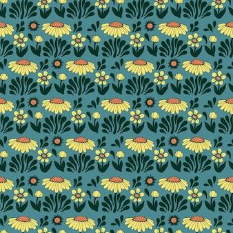 벡터 복고풍 색상 스칸디나비아 꽃과 태양 그림 원활한 반복 패턴 홈 장식