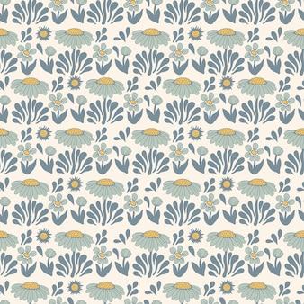 벡터 복고풍 색상 스칸디나비아 꽃과 태양 그림 원활한 반복 패턴