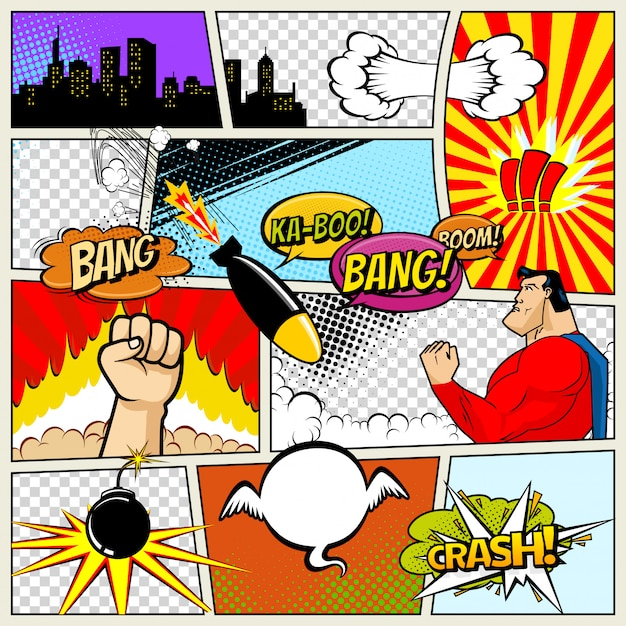 Vector retro comic book speech bubbles illustration