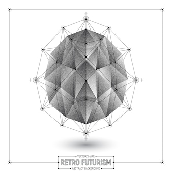 Vector retro futurism abstract polygonal 3d shape