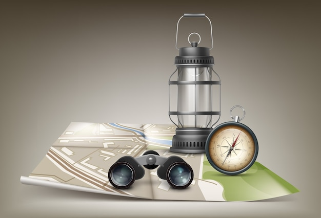Vector retro metal pocket compass with travel map, binoculars and vintage lantern isolated on ocher background
