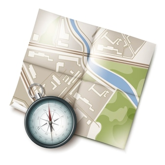 Vector retro metal pocket compass with travel map top view isolated on white background