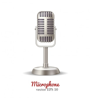 Vector retro microphone, karaoke radio broadcast