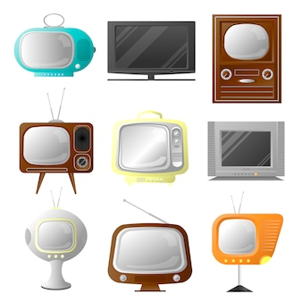 Vector retro and modern stylish tv set. collection of vintage screens.