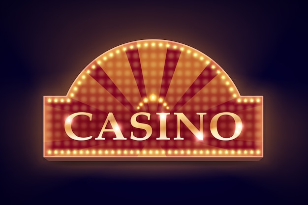 Vector retro orange illuminated casino signboard for poster, flyer, billboard, web sites and gambling club isolated on black background