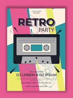Вектор ретро партия плакат с кассетой иллюстрации
