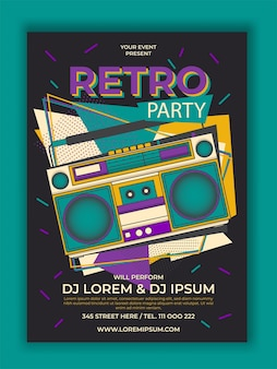 Vector retro party poster with radio cassette illustration
