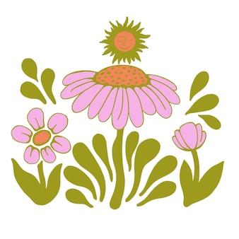 벡터 복고풍 핑크 색상 스칸디나비아 꽃과 태양 그림 디지털 아트웍 그래픽 리소스