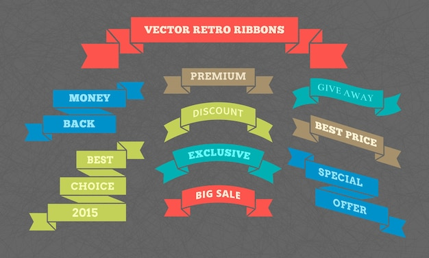 Vector retro ribbons with inscriptions to increase consumerism on textured background