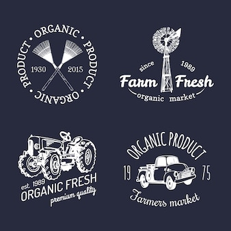 Vector retro set of farm fresh logotypes. organic bio products badges collection. eco food signs. vintage hand sketched agricultural equipment icons.
