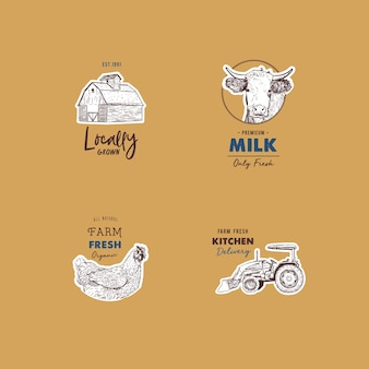 Vector retro set of farm fresh logotypes.