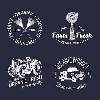 農場の新鮮なロゴタイプのベクトルレトロセット。有機バイオ製品のバッジコレクション。エコ食品の兆候。ヴィンテージの手描きの農業機械のアイコン。
