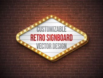 Vector retro signboard or lightbox illustration