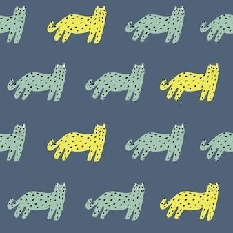 ベクトルレトロなシンプルな猫のイラストモチーフシームレスな繰り返しパターンデジタルアートワーク家の装飾プリント