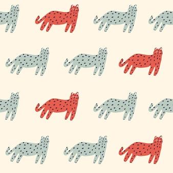 벡터 복고풍 간단한 고양이 그림 모티브 원활한 반복 패턴 디지털 작품 홈 장식 인쇄