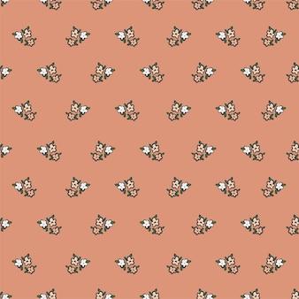 ベクトルレトロな小さな花のイラストモチーフシームレスな繰り返しパターンデジタルファイルパターンアートワーク