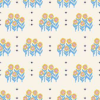 ベクトルレトロな小さなひまわりの花のイラストシームレスな繰り返しパターンデジタルアートワーク家の装飾