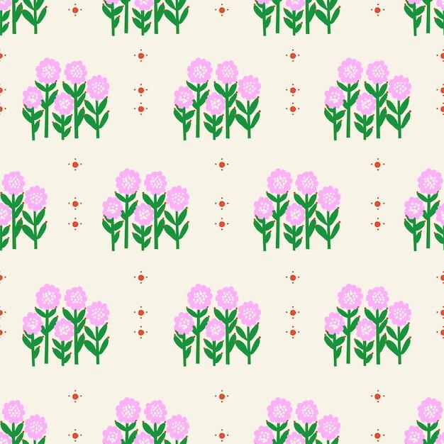 Вектор ретро небольшой цветок подсолнечника иллюстрации бесшовные модели повторения цифровых произведений искусства домашнего декора