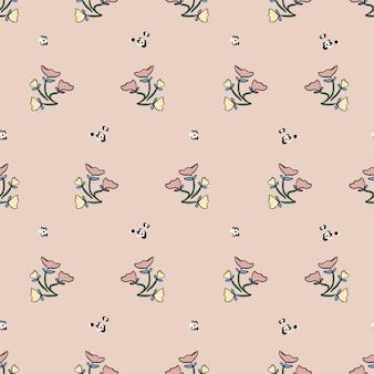 ベクトルレトロな小さな野生の花のイラストモチーフシームレスリピートパターンデジタルファイルパターンartwor