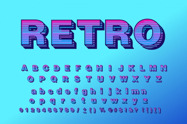 Vector retro typeface 3d bold typography sans serif style for poster
