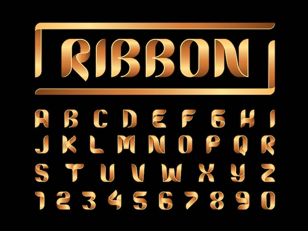 Vector of ribbons alphabet letters