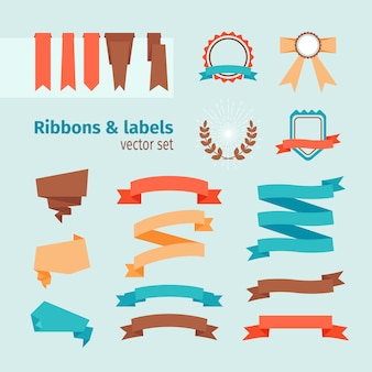 Vector ribbons and labels in modern trendy style