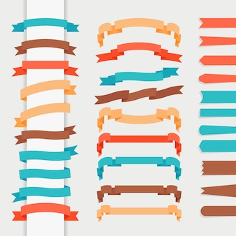 Vector ribbons in retro flat style for logos and emblems