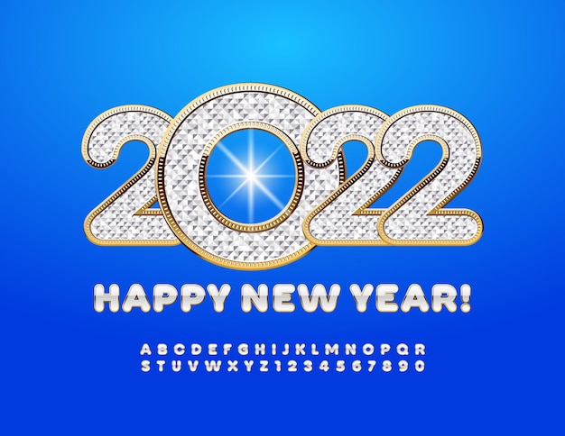 Vector rich greeting card happy new year diamond pattern and gold alphabet letters and numbers