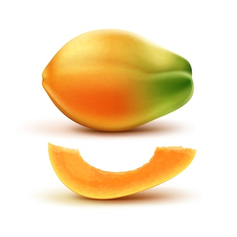 Вектор спелых апельсинов, зеленых целых и разрезанной папайи, изолированные на белом фоне