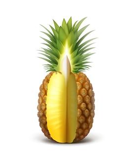 Frutta di ananas affettato maturo di vettore isolato su priorità bassa bianca