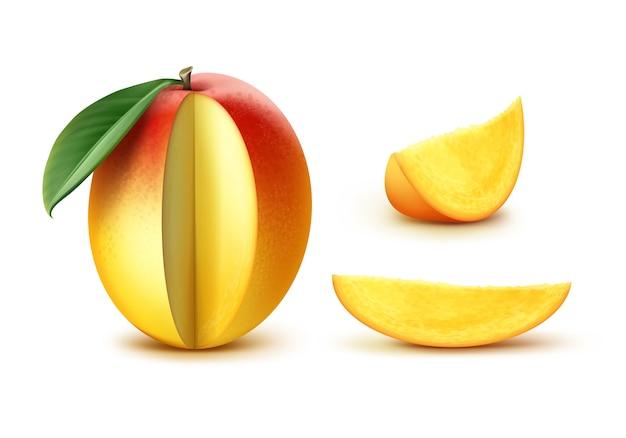 Vettore maturo giallo, arancione, rosso mango slised con foglia isolato su sfondo bianco