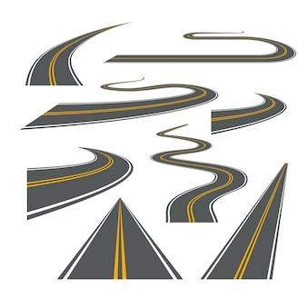 ベクトル道路の曲がりくねった旅の高速道路の図。アスファルト通りの道の孤立した道路。