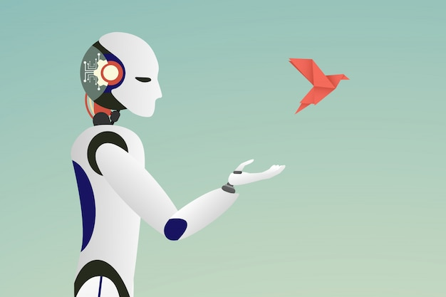 Vector of robot releasing a red paper bird