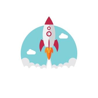 Vector rocket launch flat design