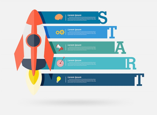 Vector rocket project start up banner design