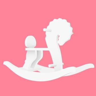 Вектор лошадка-качалка детская игрушка - иллюстрация на розовом фоне