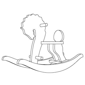 Vector rocking horse kid toy - line illustration