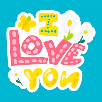 Vector romantic love patch in doodle style